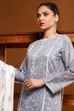 3PC Unstitched Printed Suit With Printed Lawn Dupatta CL-1049 A