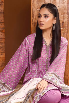 3PC Unstitched Gold Printed Lawn Suit With Gold Printed Lawn Dupatta CL-1083 A