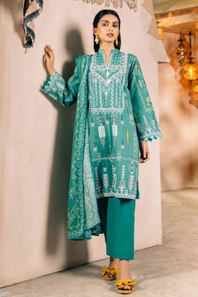 2PC Digital Embroidered Cambric Shirt With Lawn Dupatta TCE-12013 B