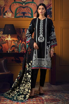 3PC Unstitched Embroidered Khaddar Suit with Digital Printed Khaddar Dupatta K-12015