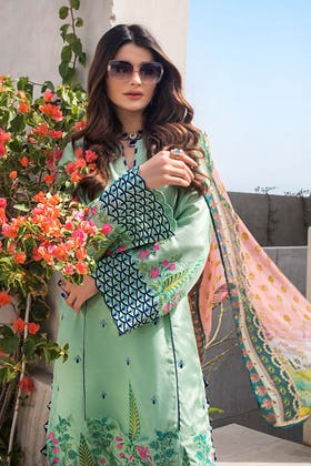 3PC Unstitched Embroidered Cotton Silk Suit With Chiffon Dupatta - FE-12226 - SHAHI BEGUM