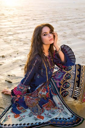 3PC Unstitched Digital Printed Embroidered Lawn Suit With Digital Printed Chiffon Dupatta BM-166