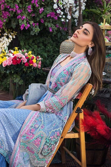 3PC Unstitched Embroidered Suit With Cotton Net Dupatta - FE-12063 - MAHRUKH