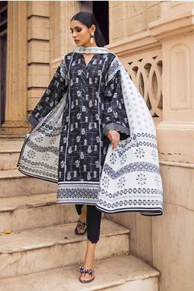 2PC Unstitched Printed Lawn Shirt With Lawn Dupatta BT-12002