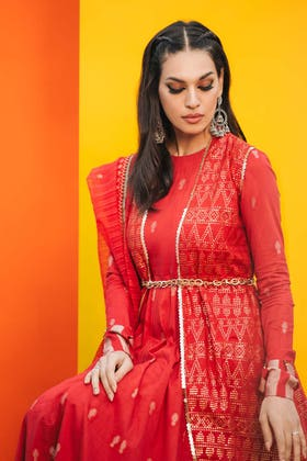 3PC Festive Eid Embroidered Suit With Embroidered Organza Dupatta SP-05
