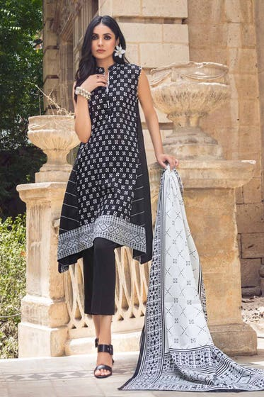 2PC Unstitched Printed Lawn Shirt With Lawn Dupatta BT-12007