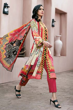 3PC Unstitched Digital Printed Lawn Suit With Digital Printed Chiffon Dupatta BM-161