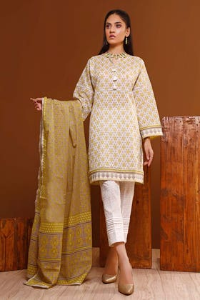 3PC Unstitched Printed Lawn Suit With Printed Lawn Dupatta CL-1051 B