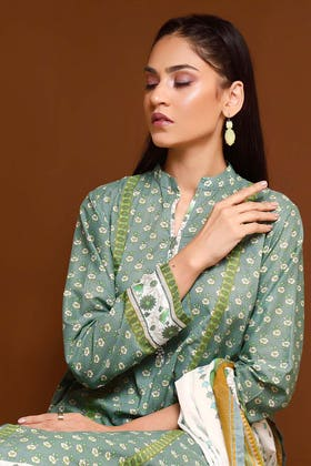 3PC Unstitched Gold Printed Lawn Suit With Gold Printed Lawn Dupatta CL-1083 B