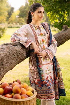 2PC Digital Embroidered Cambric Shirt With Lawn Dupatta TCE-12006