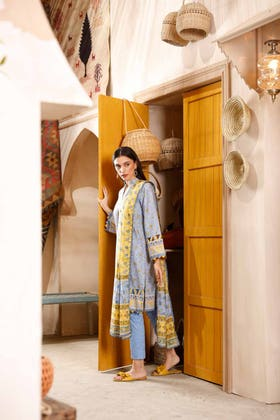 3PC Unstitched Cambric Cotton Embroidered Suit with Printed Lawn Dupatta CBE-12004