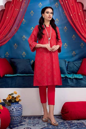 2 PC Lawn Unstitched Glitter Printed Suit FE-12206
