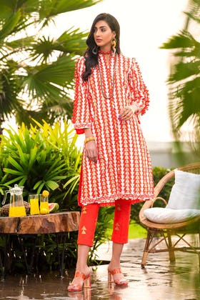 2 PC Unstitched Gold Lacquer Printed Lawn suit TL-357 B