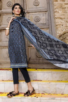 3PC Unstitched Chunri Lawn Suit With Gold Printed Lawn Dupatta CL-1202 B