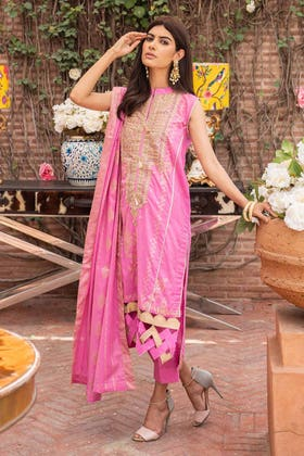3 PC Unstitched Embroidered Lawn Suit with Jacquard Dupatta FE-12168