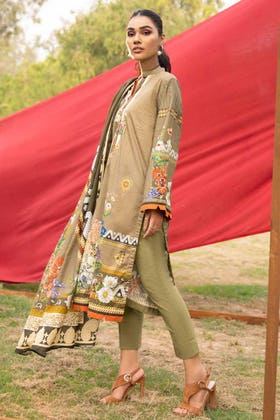 3PC Unstitched Cambric Cotton Printed Suit with Printed Lawn Dupatta CN-12009