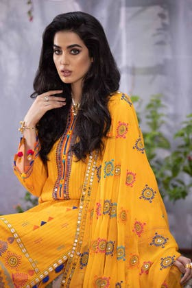 3PC Unstitched Embroidered Suit with Chiffon Dupatta BM-12006