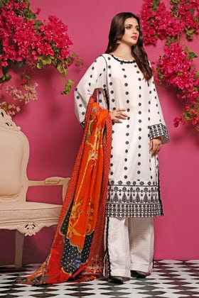 3PC Unstitched Embroidered Lawn Suit CL-970