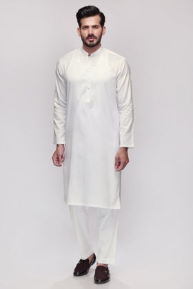 Off White Unstitched Fabric Shaleen SJ-004