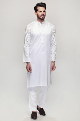 White Unstitched Fabric Shaleen SJ-001
