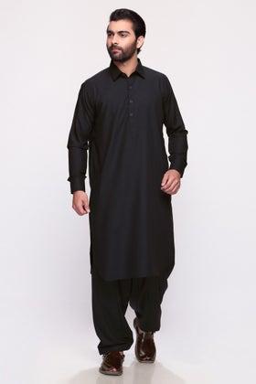 Black Unstitched Fabric ESSO LATHA