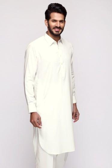Off White Unstitched Fabric Tanabana Royal (YF#102)