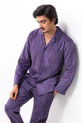 Mens Lightweight Woven Cotton Oxford Style Pajama Set WG-LW-21-07 A