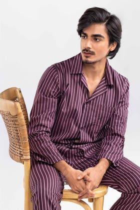 Mens Lightweight Woven Cotton Oxford Style Pajama Set WG-LW-21-07 C