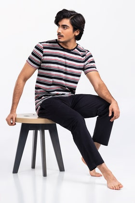 Stripe Tee With Relax Trouser WG-LW-21-04 C