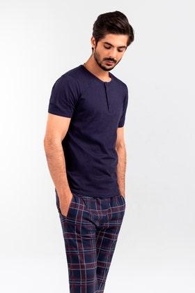 Mens Henley & Plaid Sleep Pants Pajama Set WG-LW-21-05 A