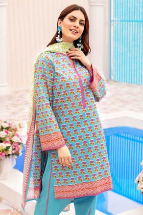 3PC Unstitched Printed Lawn Suit With Printed Lawn Dupatta CL-1056 A