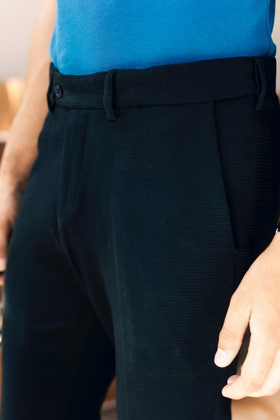 Black Textured Flexi Waist Pants BLDFIP_009_SF