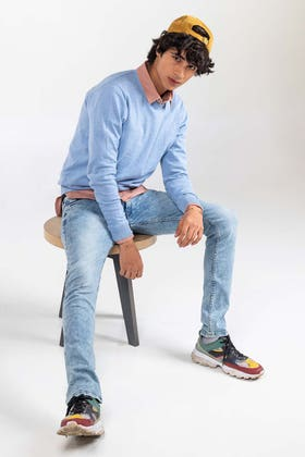 Blue Basic Sweater FS-SWT-D34-03
