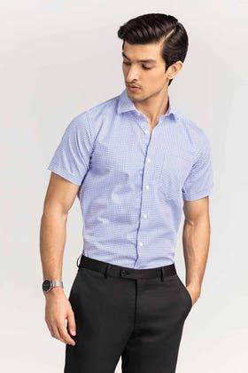 Blue Checkered Formal Shirt CVC-YD-497 HS
