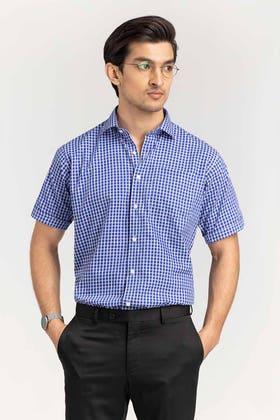 Blue Checkered Formal Shirt CVC-YD-500 HS