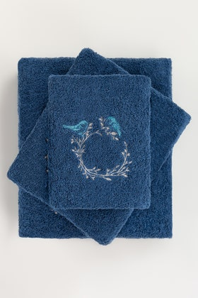 Blue Combed 3Pc Embroidered Towel Set