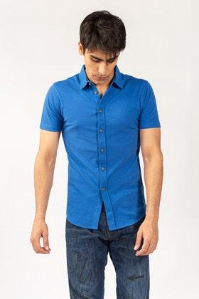 Blue Knitted Casual Shirt HS-CS-KNIT-D13