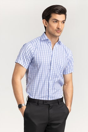 Blue Sky Checkered Formal Shirt CVC-YD-508 HS