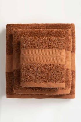 Brown Combed Towel Plain