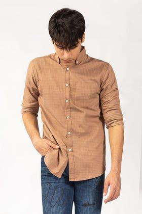 Brown Dobby Casual Shirt CM-YD-2844 CS