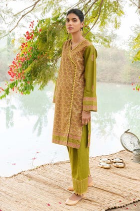 2PC Unstitched Gold & Lacquer Printed Shirt With Gold Printed Trouser TL-299