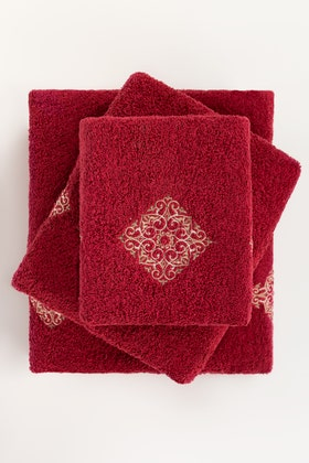 Claret Combed 3Pc Embroidered Towel Set