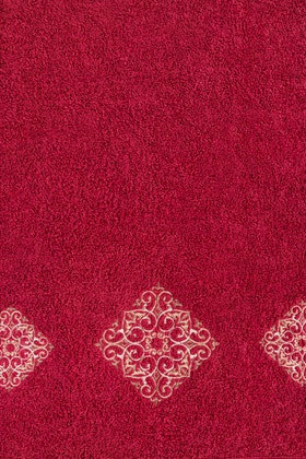 Claret Combed Embroidered Towel