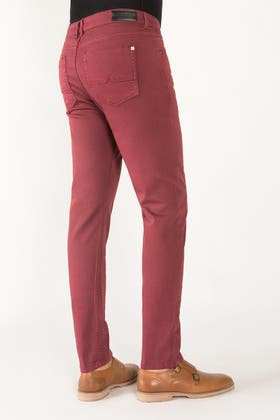 Classic-Maroon Non-Denim Colored Jeans - NDJ49_1908