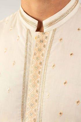 Cream Embroidered Kurta KE-1420