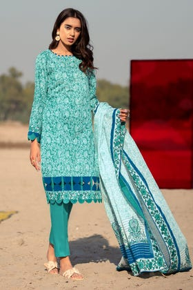 3PC Unstitched Printed Lawn Suit With Argan Oil Finish CL-1029 B