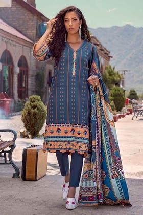 3PC Unstitched Cotton Slub Suit CS-12001 A