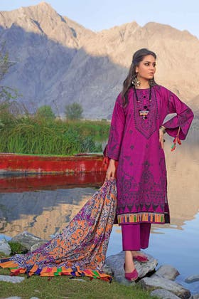 3PC Unstitched Khaddar Embroidered Suit With Poly Viscose Dupatta PVS-12012