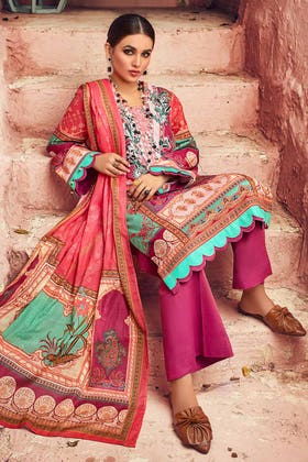 3PC Unstitched Embroidered Corduroy Suit with Digital Printed Cotton Net Dupatta CD-12002