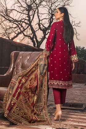 3PC Unstitched Velvet Embroidered Suit WV-12006